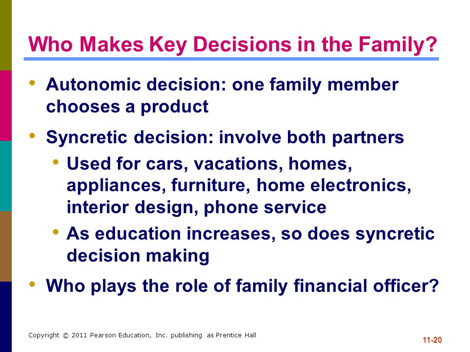 11-20 Copyright © 2011 Pearson Education, Inc. publishing as Prentice Hall Who Makes Key Decisions in the Family? Autonomic decision: one family membe