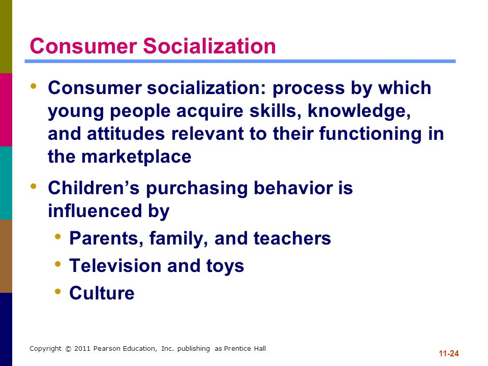 11-24 Copyright © 2011 Pearson Education, Inc. publishing as Prentice Hall Consumer Socialization Consumer socialization: process by which young peopl