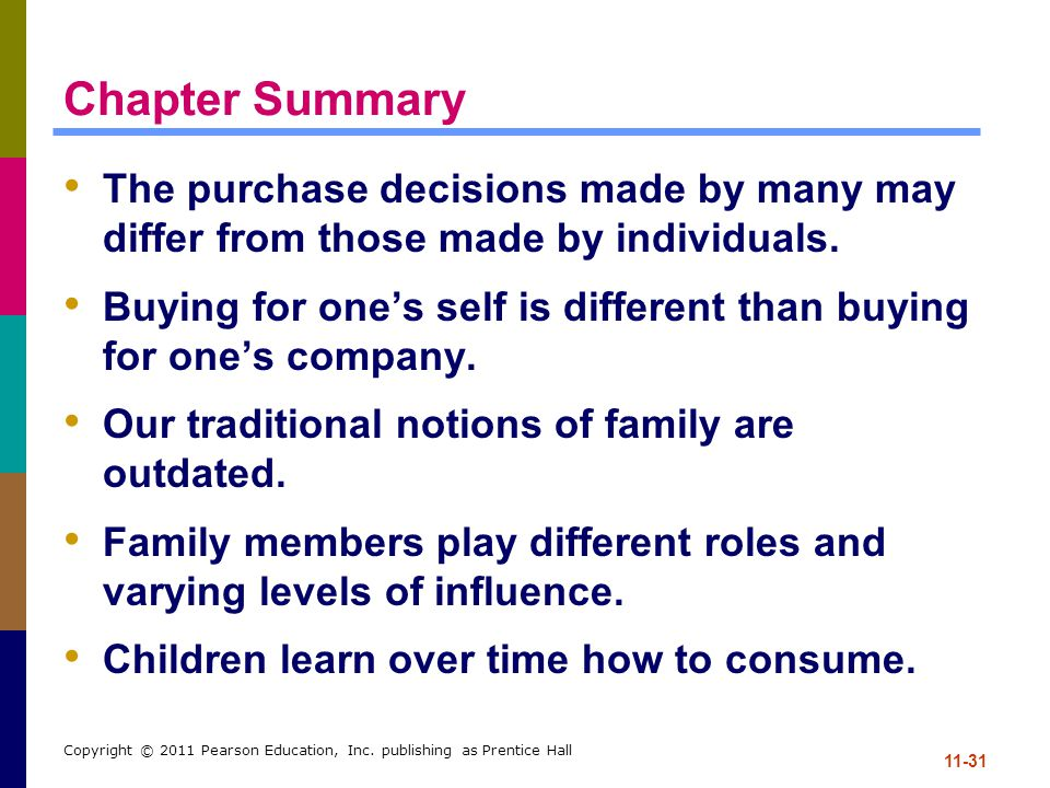 11-31 Copyright © 2011 Pearson Education, Inc. publishing as Prentice Hall Chapter Summary The purchase decisions made by many may differ from those m