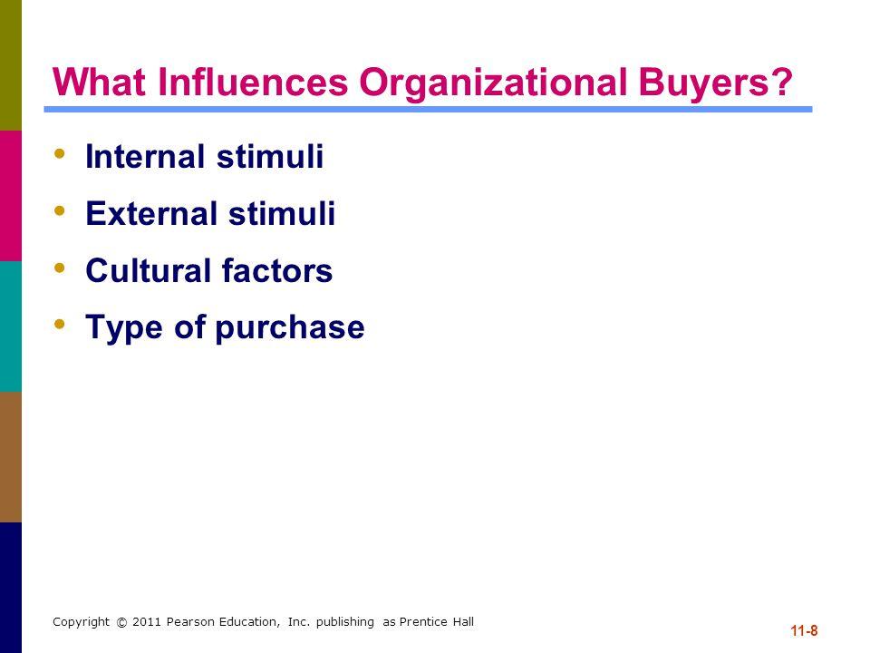 11-8 Copyright © 2011 Pearson Education, Inc. publishing as Prentice Hall What Influences Organizational Buyers? Internal stimuli External stimuli Cul
