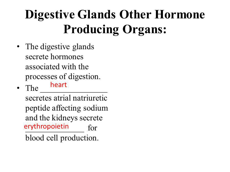 Digestive Glands Other Hormone Producing Organs: The digestive glands secrete hormones associated with the processes of digestion. The _______________