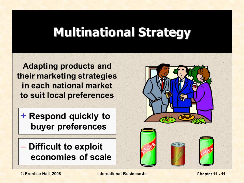 International Business 4e Chapter 11 - 11 © Prentice Hall, 2008 Multinational Strategy Adapting products and their marketing strategies in each nation