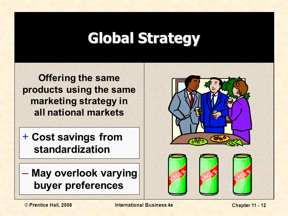 International Business 4e Chapter 11 - 12 © Prentice Hall, 2008 Global Strategy Offering the same products using the same marketing strategy in all na