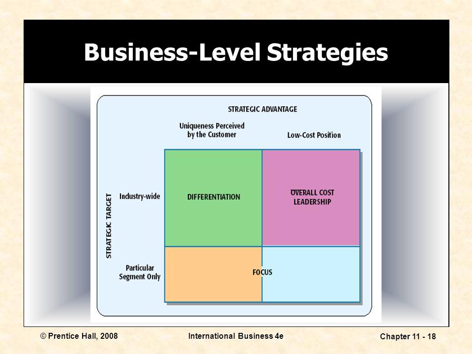 International Business 4e Chapter 11 - 18 © Prentice Hall, 2008 Business-Level Strategies