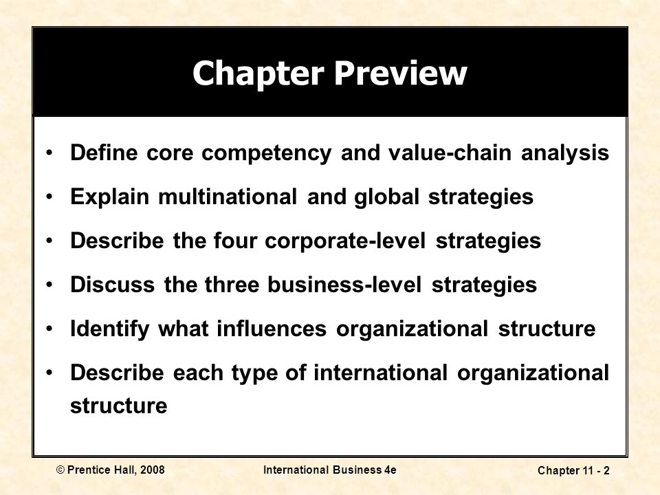 International Business 4e Chapter 11 - 2 © Prentice Hall, 2008 Chapter Preview Define core competency and value-chain analysis Explain multinational a
