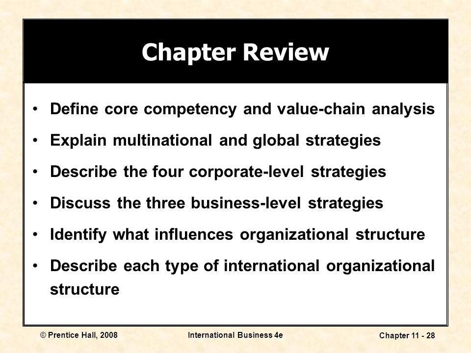 International Business 4e Chapter 11 - 28 © Prentice Hall, 2008 Chapter Review Define core competency and value-chain analysis Explain multinational a