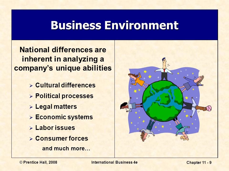 International Business 4e Chapter 11 - 9 © Prentice Hall, 2008 Business Environment National differences are inherent in analyzing a company's unique