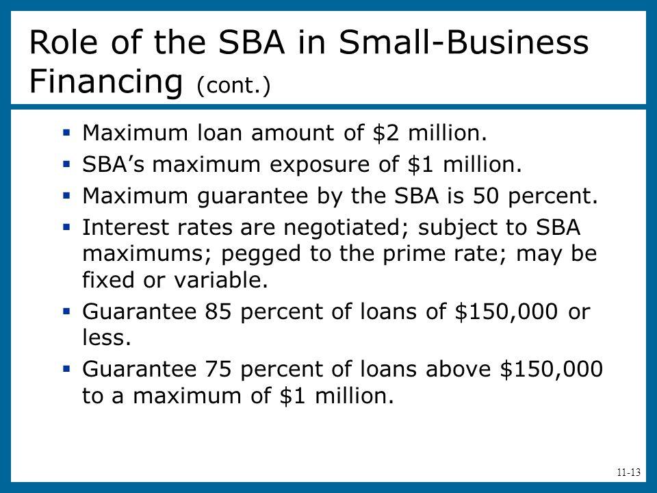11-13  Maximum loan amount of $2 million.  SBA's maximum exposure of $1 million.  Maximum guarantee by the SBA is 50 percent.  Interest rates are