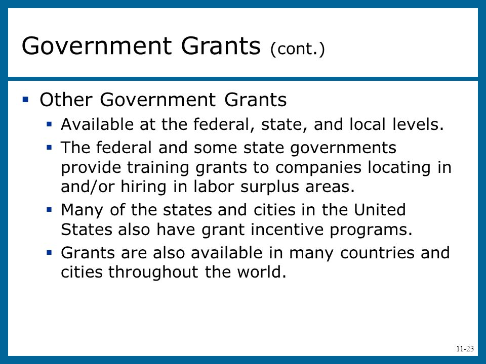 11-23  Other Government Grants  Available at the federal, state, and local levels.  The federal and some state governments provide training grants
