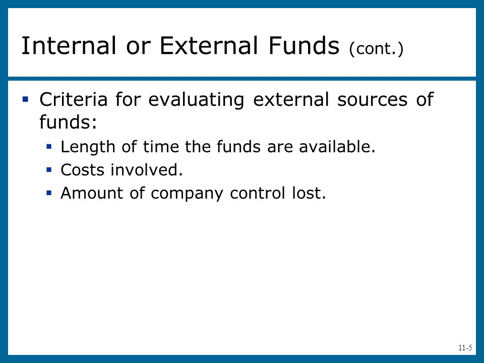 11-5  Criteria for evaluating external sources of funds:  Length of time the funds are available.
