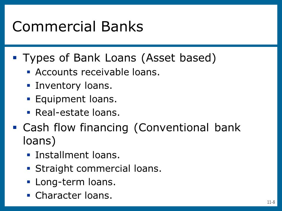 11-8 Commercial Banks  Types of Bank Loans (Asset based)  Accounts receivable loans.