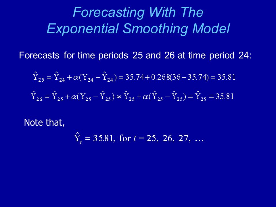 Forecasting With The Exponential Smoothing Model Forecasts for time periods 25 and 26 at time period 24: Note that,