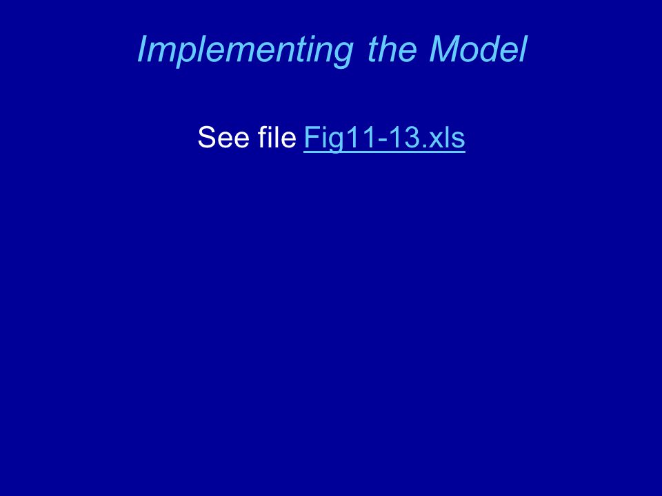 Implementing the Model See file Fig11-13.xlsFig11-13.xls