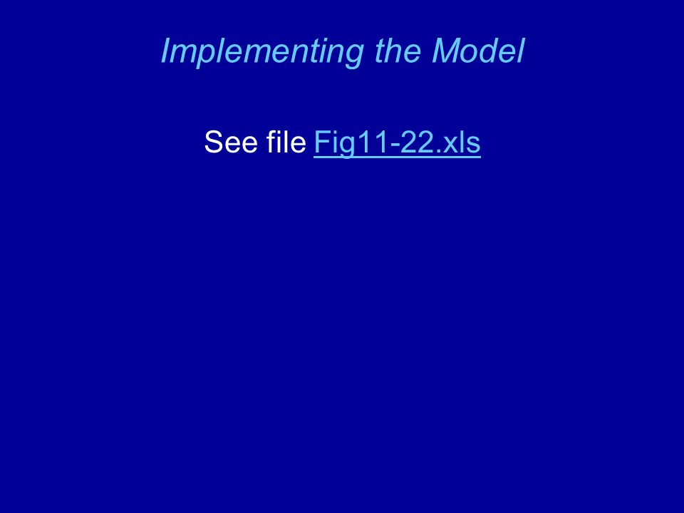 Implementing the Model See file Fig11-22.xlsFig11-22.xls