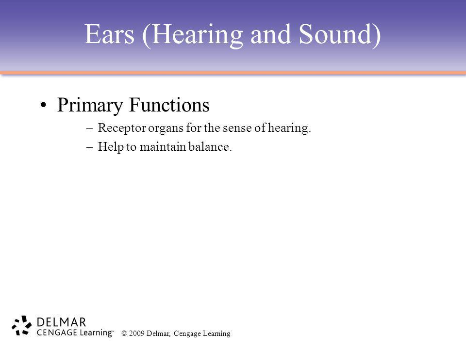 © 2009 Delmar, Cengage Learning Ears (Hearing and Sound) Primary Functions –Receptor organs for the sense of hearing. –Help to maintain balance.