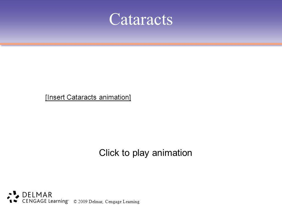© 2009 Delmar, Cengage Learning Cataracts Click to play animation [Insert Cataracts animation]