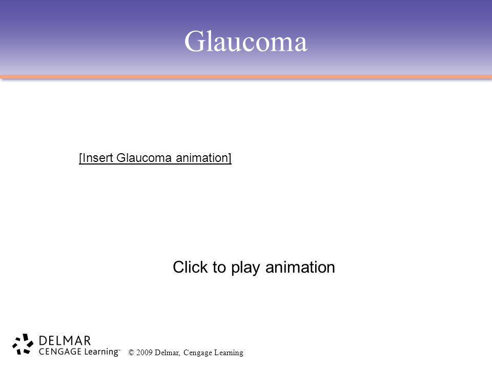 © 2009 Delmar, Cengage Learning Glaucoma Click to play animation [Insert Glaucoma animation]