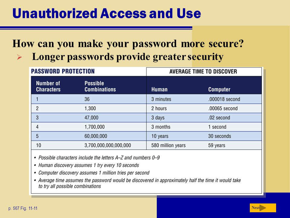 Unauthorized Access and Use How can you make your password more secure? p. 567 Fig. 11-11 Next  Longer passwords provide greater security