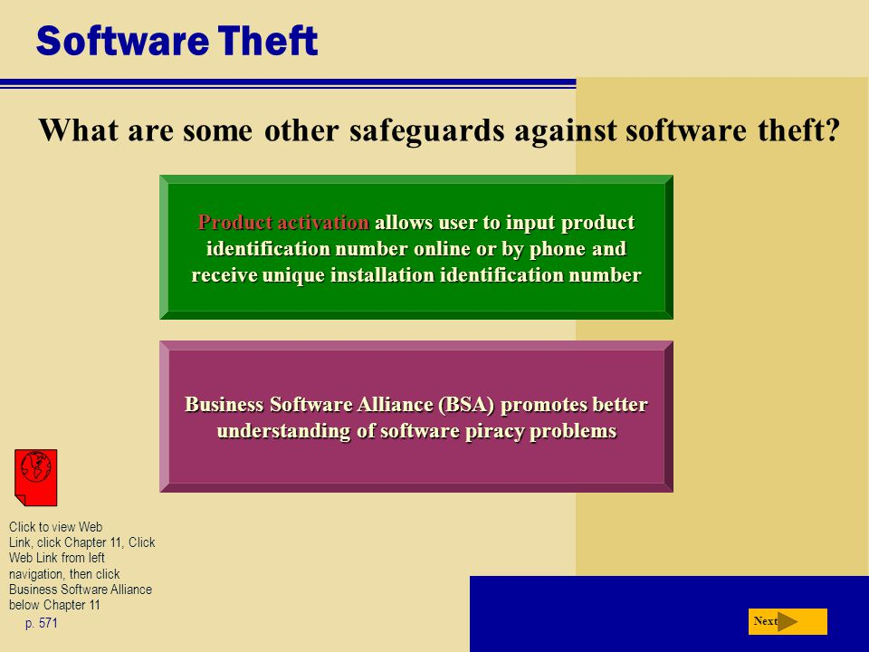 Software Theft What are some other safeguards against software theft? p. 571 Next Product activation allows user to input product identification numbe
