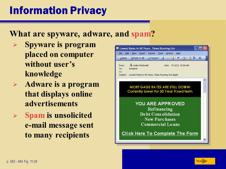 Information Privacy What are spyware, adware, and spam? p. 583 - 584 Fig. 11-29 Next  Spyware is program placed on computer without user's knowledge