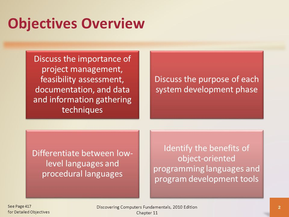 Objectives Overview Discuss the importance of project management, feasibility assessment, documentation, and data and information gathering techniques Discuss the purpose of each system development phase Differentiate between low- level languages and procedural languages Identify the benefits of object-oriented programming languages and program development tools Discovering Computers Fundamentals, 2010 Edition Chapter 11 2 See Page 417 for Detailed Objectives