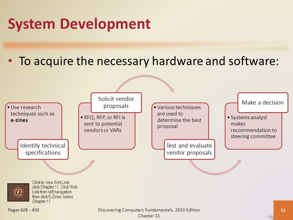 System Development To acquire the necessary hardware and software: Discovering Computers Fundamentals, 2010 Edition Chapter 11 21 Pages 428 - 430 Use research techniques such as e-zines Identify technical specifications RFQ, RFP, or RFI is sent to potential vendors or VARs Solicit vendor proposals Various techniques are used to determine the best proposal Test and evaluate vendor proposals Systems analyst makes recommendation to steering committee Make a decision Click to view Web Link, click Chapter 11, Click Web Link from left navigation, then click E-Zines below Chapter 11