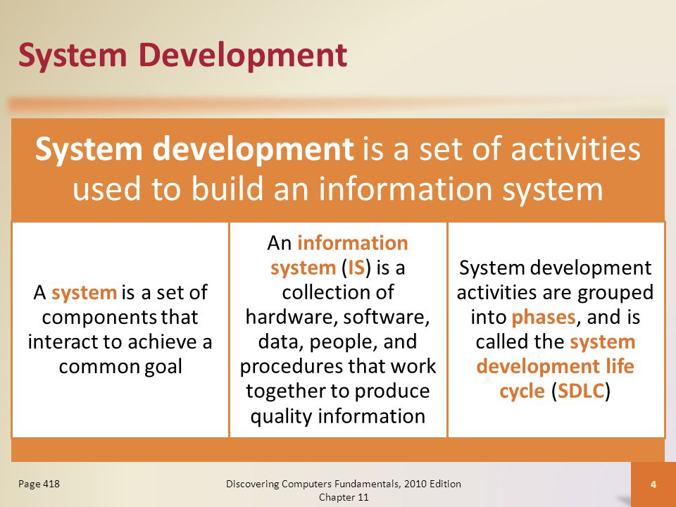 System Development System development is a set of activities used to build an information system A system is a set of components that interact to achieve a common goal An information system (IS) is a collection of hardware, software, data, people, and procedures that work together to produce quality information System development activities are grouped into phases, and is called the system development life cycle (SDLC) Discovering Computers Fundamentals, 2010 Edition Chapter 11 4 Page 418