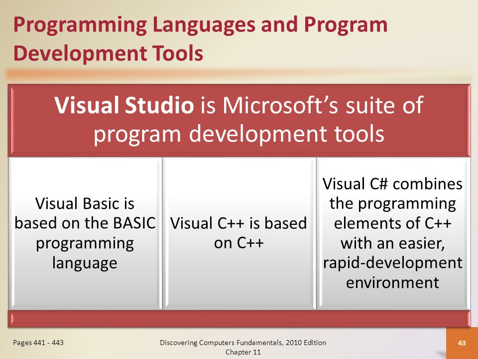 Programming Languages and Program Development Tools Visual Studio is Microsoft's suite of program development tools Visual Basic is based on the BASIC programming language Visual C++ is based on C++ Visual C# combines the programming elements of C++ with an easier, rapid-development environment Discovering Computers Fundamentals, 2010 Edition Chapter 11 43 Pages 441 - 443