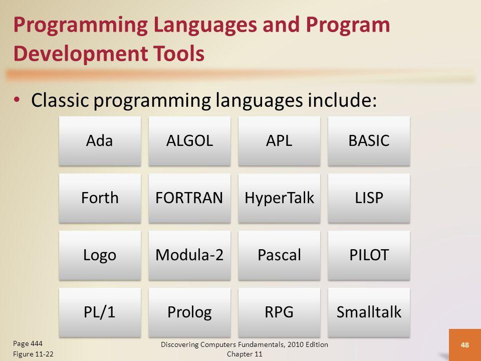 Programming Languages and Program Development Tools Classic programming languages include: Discovering Computers Fundamentals, 2010 Edition Chapter 11 48 Page 444 Figure 11-22 AdaALGOLAPLBASIC ForthFORTRANHyperTalkLISP LogoModula-2PascalPILOT PL/1PrologRPGSmalltalk