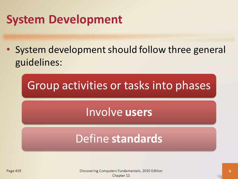 System Development System development should follow three general guidelines: Discovering Computers Fundamentals, 2010 Edition Chapter 11 6 Page 419 Group activities or tasks into phasesInvolve usersDefine standards