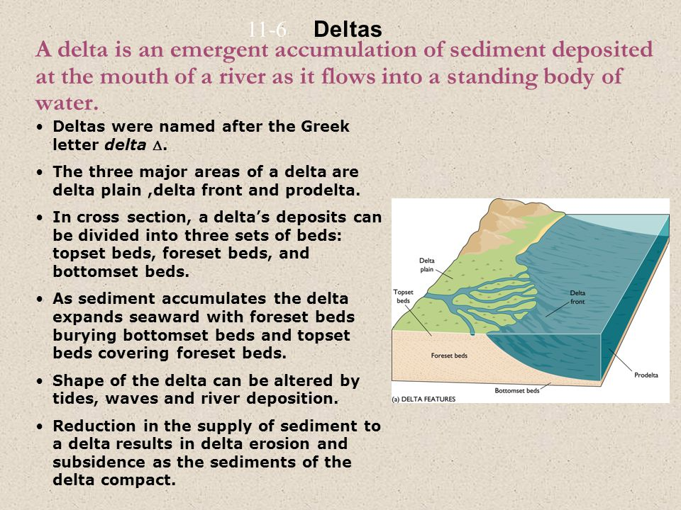 A delta is an emergent accumulation of sediment deposited at the mouth of a river as it flows into a standing body of water. Deltas were named after t