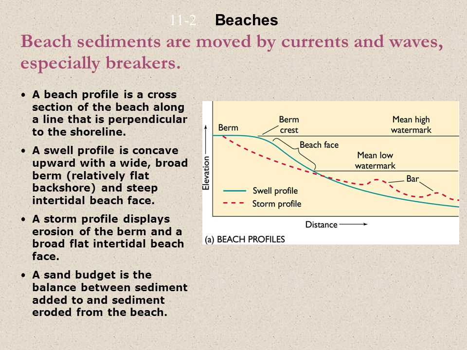 Beach sediments are moved by currents and waves, especially breakers. A beach profile is a cross section of the beach along a line that is perpendicul