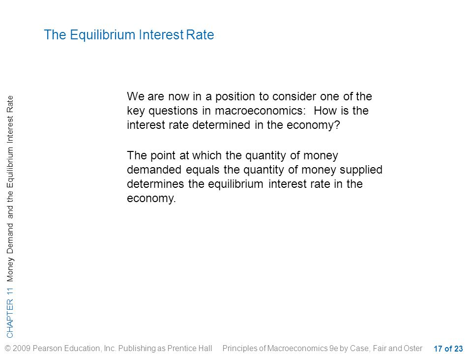 CHAPTER 11 Money Demand and the Equilibrium Interest Rate © 2009 Pearson Education, Inc. Publishing as Prentice Hall Principles of Macroeconomics 9e b