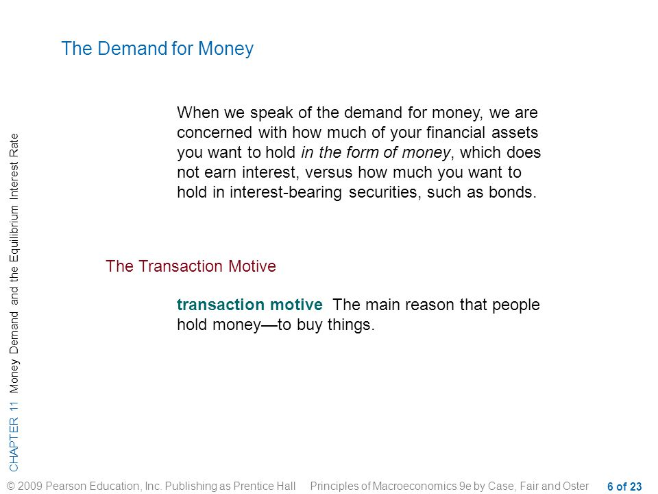 CHAPTER 11 Money Demand and the Equilibrium Interest Rate © 2009 Pearson Education, Inc.