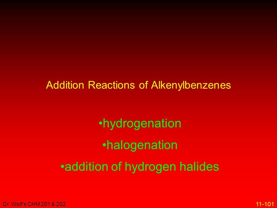 11-101 Dr. Wolf's CHM 201 & 202 hydrogenation halogenation addition of hydrogen halides Addition Reactions of Alkenylbenzenes