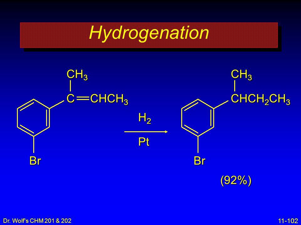 11-102 Dr. Wolf's CHM 201 & 202 Hydrogenation H2H2H2H2Pt (92%) Br C CH 3 CHCH 3 Br CHCH 2 CH 3 CH 3