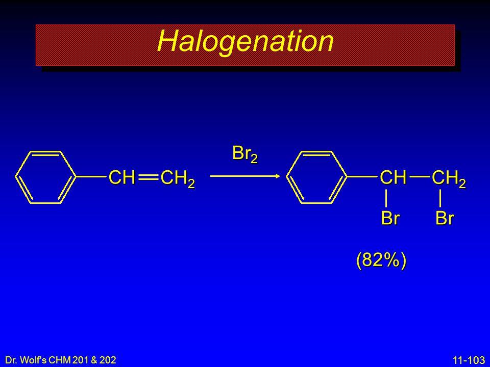 11-103 Dr. Wolf's CHM 201 & 202 Halogenation CH 2 CH Br 2 CH 2 CH BrBr (82%)