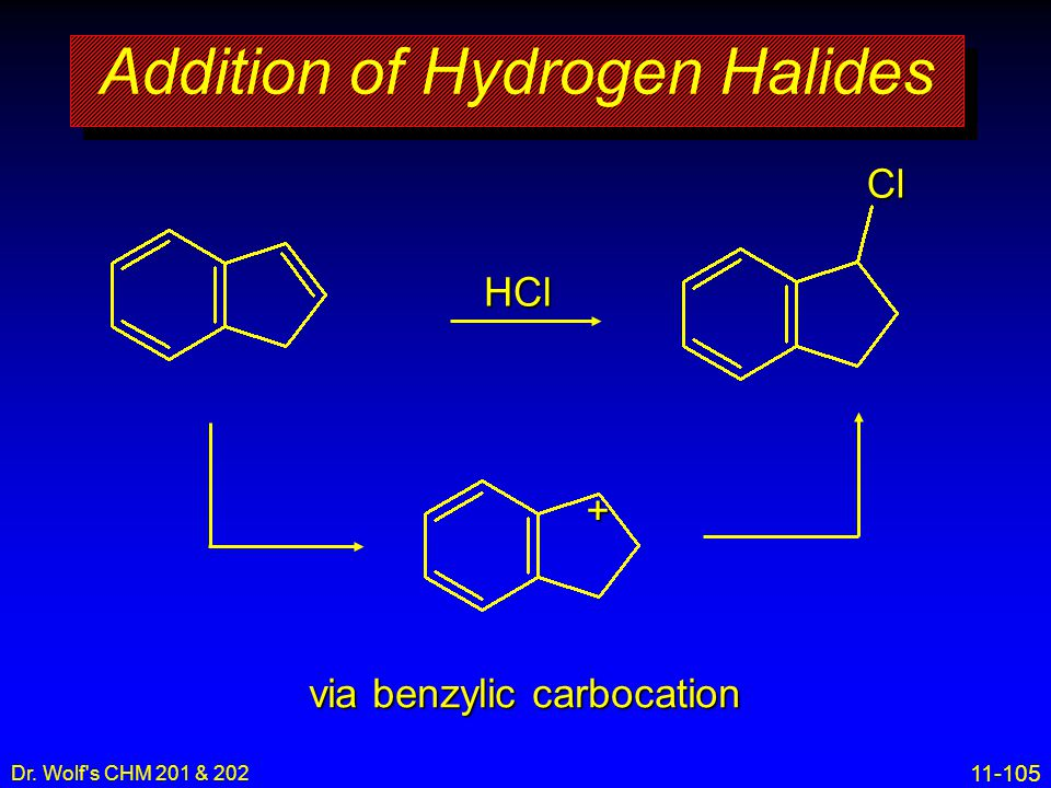 11-105 Dr. Wolf's CHM 201 & 202 Addition of Hydrogen Halides HCl via benzylic carbocation Cl+
