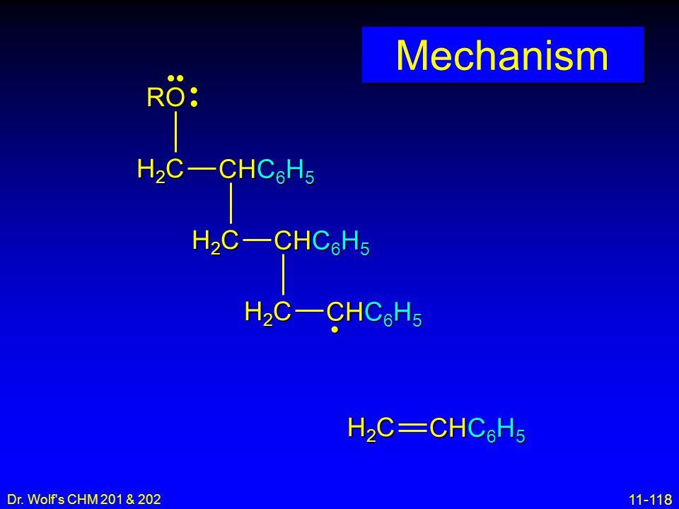 11-118 Dr. Wolf's CHM 201 & 202 Mechanism H2CH2CH2CH2C CHC 6 H 5 H2CH2CH2CH2C H2CH2CH2CH2C H2CH2CH2CH2C RO