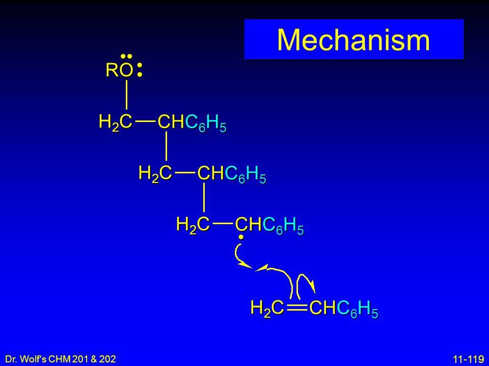 11-119 Dr. Wolf's CHM 201 & 202 Mechanism H2CH2CH2CH2C CHC 6 H 5 H2CH2CH2CH2C H2CH2CH2CH2C H2CH2CH2CH2C RO