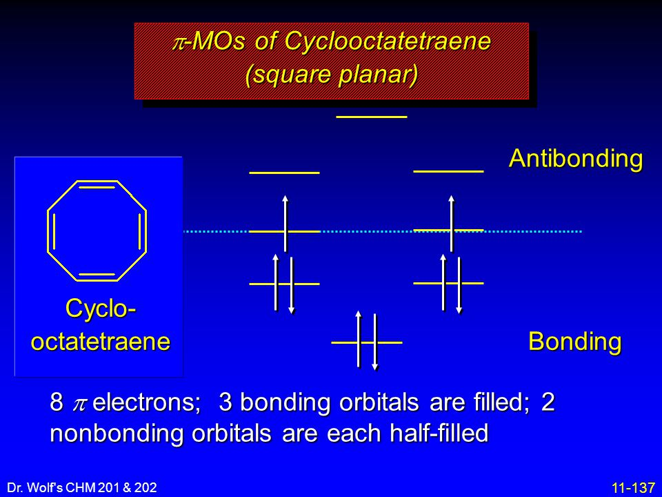 11-137 Dr. Wolf's CHM 201 & 202 Antibonding Bonding 8  electrons; 3 bonding orbitals are filled; 2 nonbonding orbitals are each half-filled  -MOs of