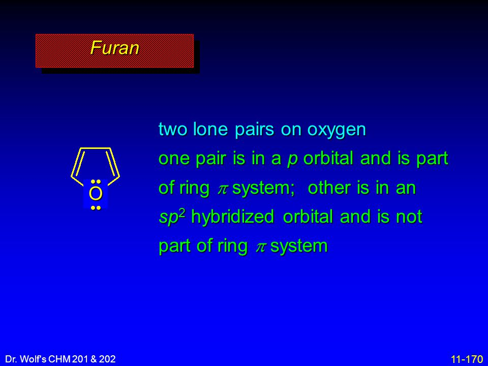 11-170 Dr. Wolf's CHM 201 & 202 FuranFuran two lone pairs on oxygen one pair is in a p orbital and is part of ring  system; other is in an sp 2 hybri
