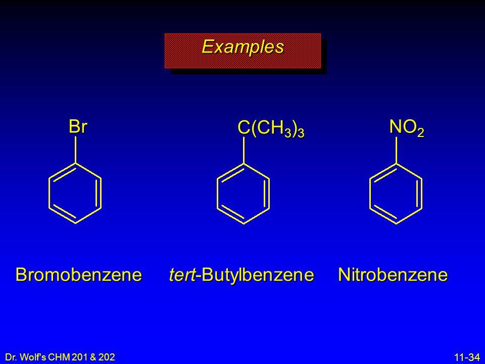 11-34 Dr. Wolf's CHM 201 & 202 ExamplesExamples Bromobenzene tert-Butylbenzene Nitrobenzene NO 2 C(CH 3 ) 3 Br
