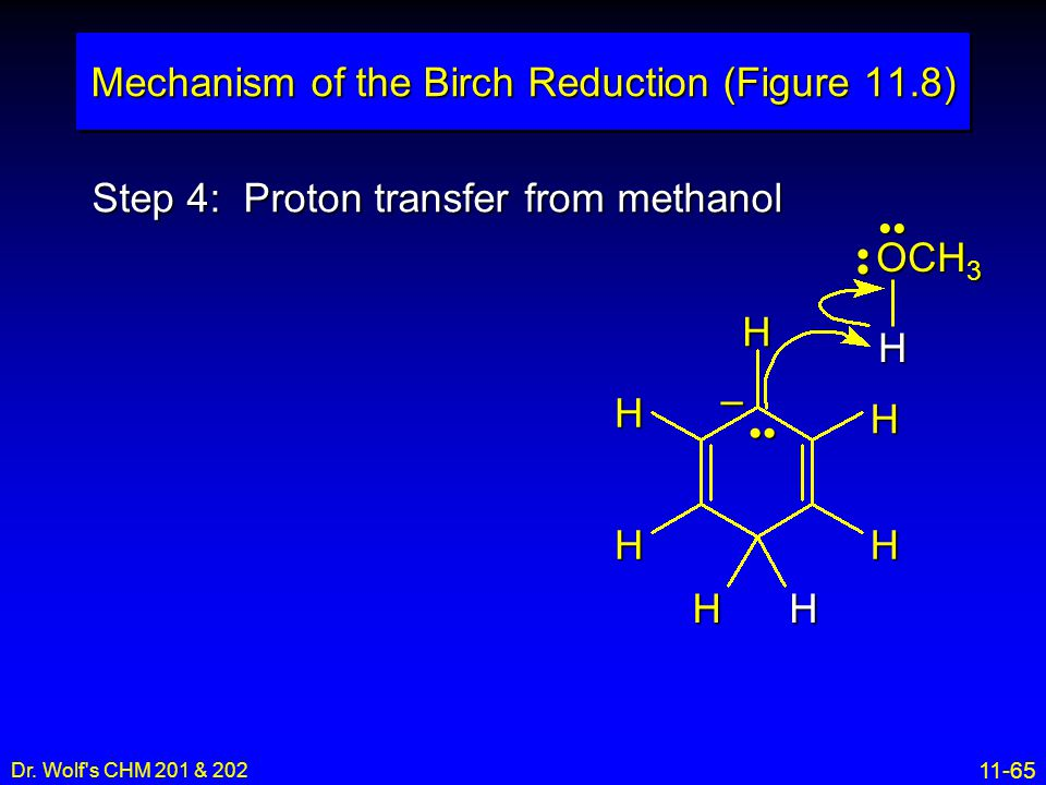 11-65 Dr. Wolf's CHM 201 & 202 Step 4: Proton transfer from methanol Mechanism of the Birch Reduction (Figure 11.8) H H H H H H H – OCH 3 H