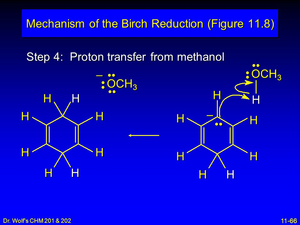 11-66 Dr. Wolf's CHM 201 & 202 Step 4: Proton transfer from methanol Mechanism of the Birch Reduction (Figure 11.8) H H H H H H H – OCH 3 H HHH HH H H