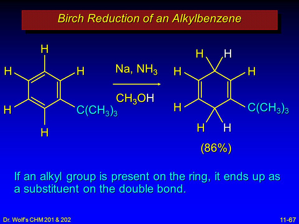 11-67 Dr. Wolf's CHM 201 & 202 (86%)HH H C(CH 3 ) 3 HH HHH H H HH Na, NH 3 CH 3 OH Birch Reduction of an Alkylbenzene If an alkyl group is present on