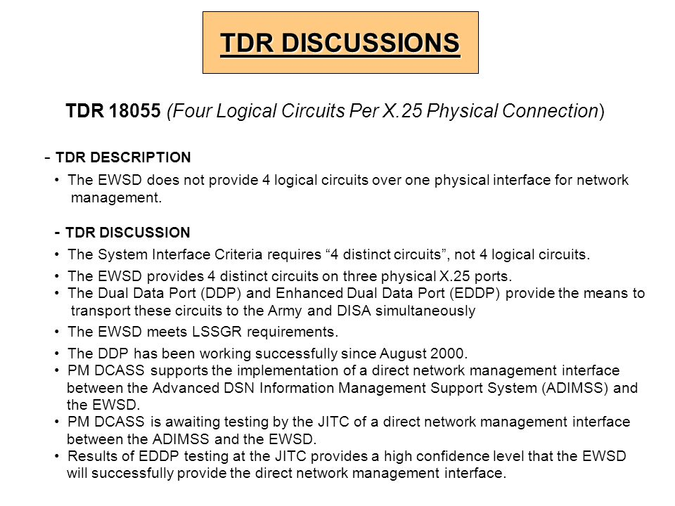 - TDR DESCRIPTION The EWSD does not provide 4 logical circuits over one physical interface for network management. - TDR DISCUSSION The System Interfa