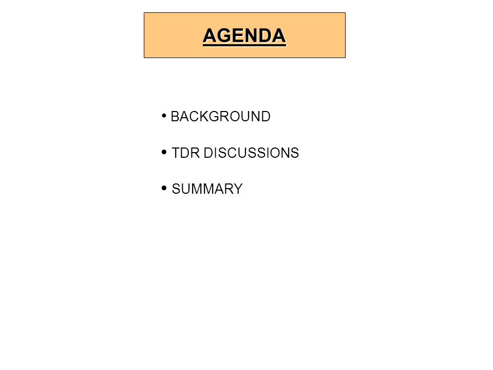 BACKGROUND TDR DISCUSSIONS SUMMARY AGENDA