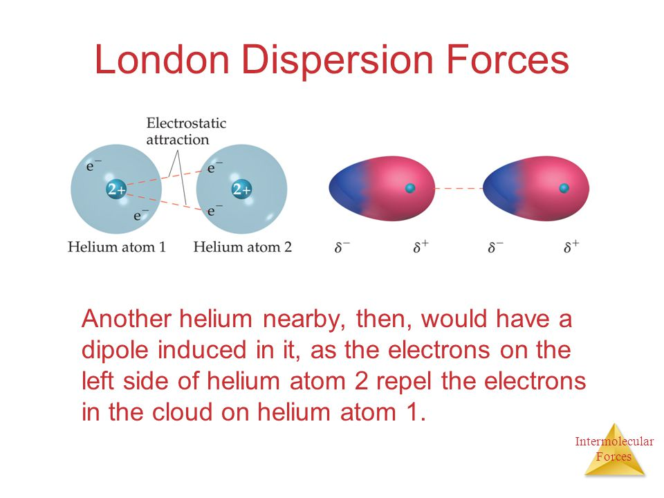 Intermolecular Forces London Dispersion Forces Another helium nearby, then, would have a dipole induced in it, as the electrons on the left side of he