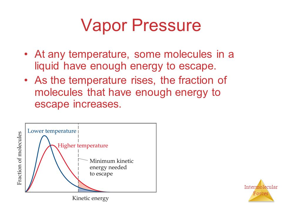 Intermolecular Forces Vapor Pressure At any temperature, some molecules in a liquid have enough energy to escape. As the temperature rises, the fracti